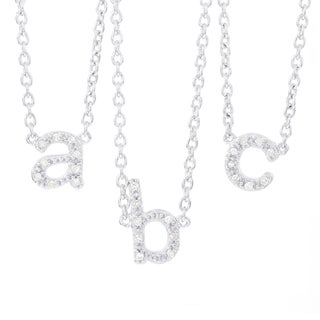 H Star Sterling Silver Diamond Accent Initial Pendant Necklace