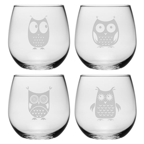 Owl Collection Stemless Wine Glass (Set of 4)