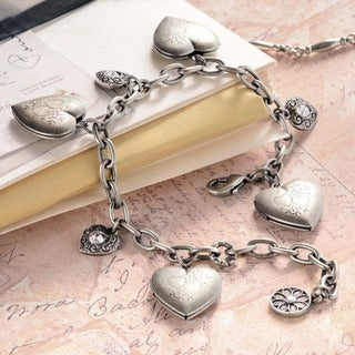 Sweet Romance Heart Locket Silver Gold Vintage Charm Bracelet