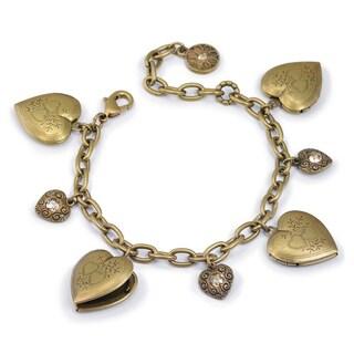 Sweet Romance Heart Locket Silver Gold Vintage Charm Bracelet (Option: Brown - Brown)