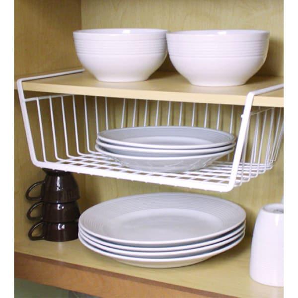 home basics white vinyl coated steel large undershelf. Black Bedroom Furniture Sets. Home Design Ideas