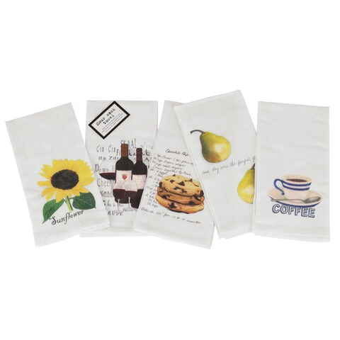 Vintage Flour Sack Printed Towels Set of 5