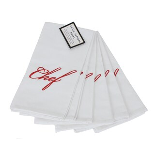 Elegant Embroidered Cotton Twill Chef Towels Set of 6