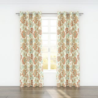 Colorfly Bella Printed Cotton 84-inch Curtain Panel Pair