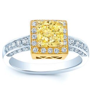 18k Two-tone Gold 1 1/3ct TDW Certified Fancy Yellow Radiant Diamond Engagement Ring (H-I, VS1-VS2)