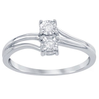La Preciosa Sterling Silver 1/10ct TDW 2-stone Diamond Promise Ring (4 options available)