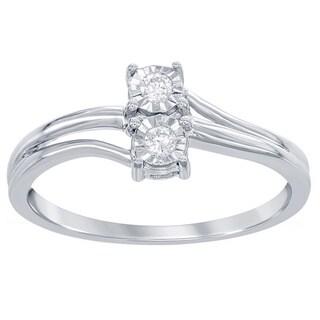 La Preciosa Sterling Silver 1/10ct TDW 2-stone Diamond Promise Ring