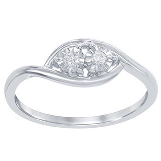 La Preciosa Sterling Silver 1/10ct TDW Diamond Side-by-Side Engagement Ring (H-I, I2-I3)