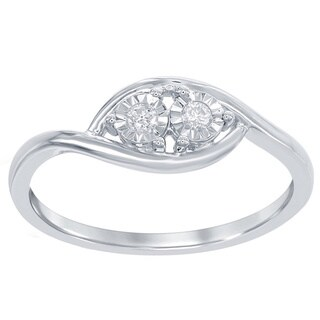 La Preciosa Sterling Silver 1/10ct TDW Diamond Side-by-Side Engagement Ring
