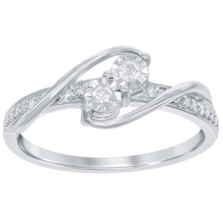 La Preciosa Sterling Silver 1/6ct TDW Diamond 2-stone Side-by-Side Engagement Ring