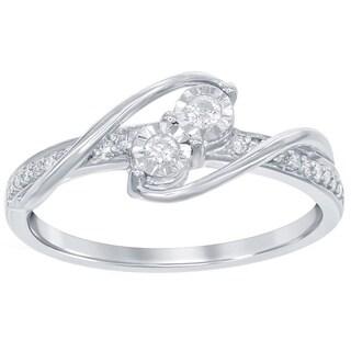 La Preciosa Sterling Silver 1/6ct TDW Diamond 2-stone Side-by-Side Engagement Ring