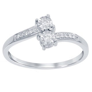 La Preciosa Sterling Silver Diamond Accent Side-by-Side Promise Ring