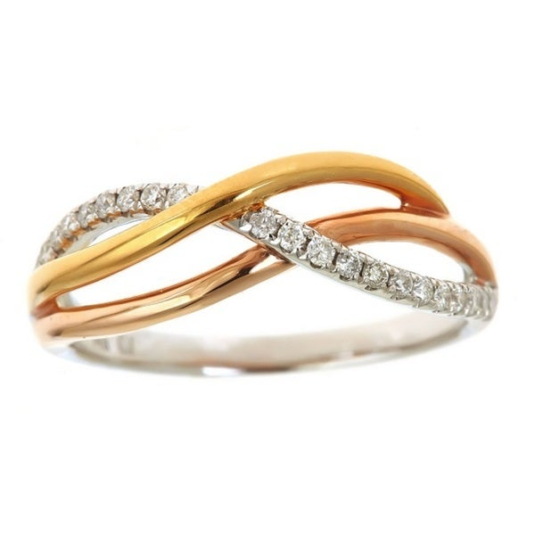 Anika and August 14k Tricolor Gold 1/5ct TDW Diamond Ring (G-H, I1-I2)