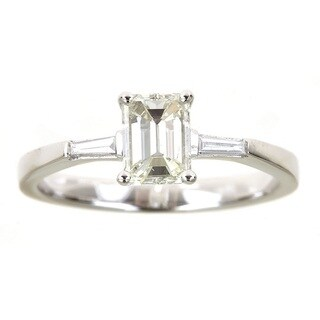 Anika and August 18k White Gold 1 1/10ct TDW Emerald Diamond Ring