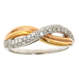 Anika and August 14k Tricolor Gold 2/5ct TDW Diamond Twist Band Ring (G-H, I1-I2)