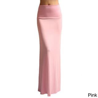 Dinamit Women's Rayon Spandex Solid Maxi Skirt