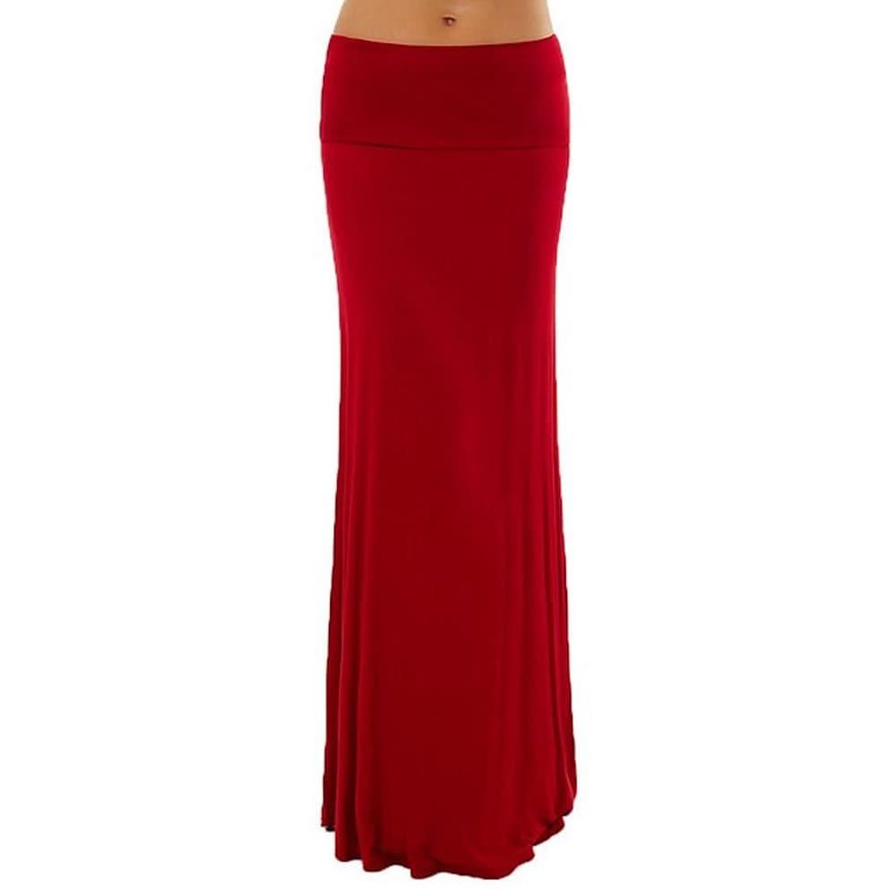 Dinamit Womens Rayon Spandex Solid Maxi Skirt