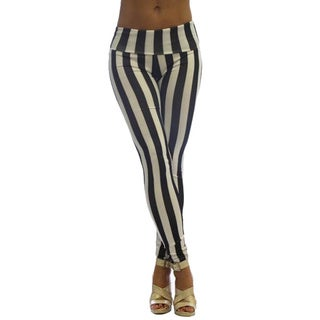 Dinamit Women's High Waist Black and White Stripe Leggings
