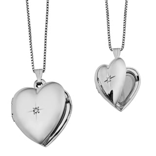 Fremada Diamond Accent Mother and Daughter Set of Two Heart Locket Necklace