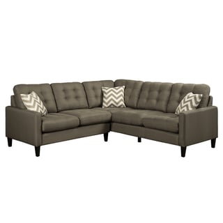 Porter Hamilton Otter Taupe Sectional Sofa with Woven Fabric Chevron Accent Pillows