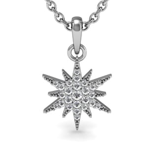 1/4 Carat Diamond Starburst Necklace, Sterling Silver, 18 Inches