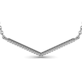 1/5ct V Bar Diamond Necklace, Sterling Silver, 18 Inches