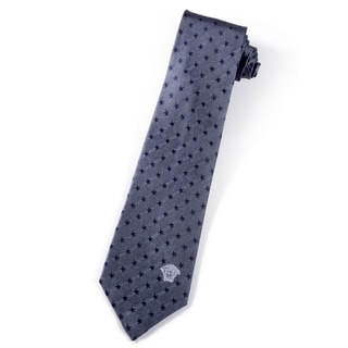 Versace 100-percent Italian Silk Blue Star Neck Tie