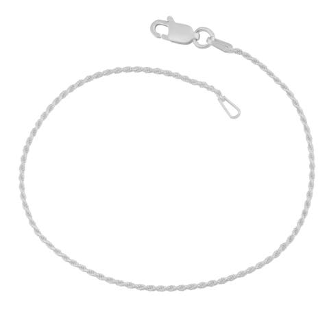 Fremada Sterling Silver 1.2-mm Diamond-Cut Italian Rope Chain Bracelet (7.5 inches)