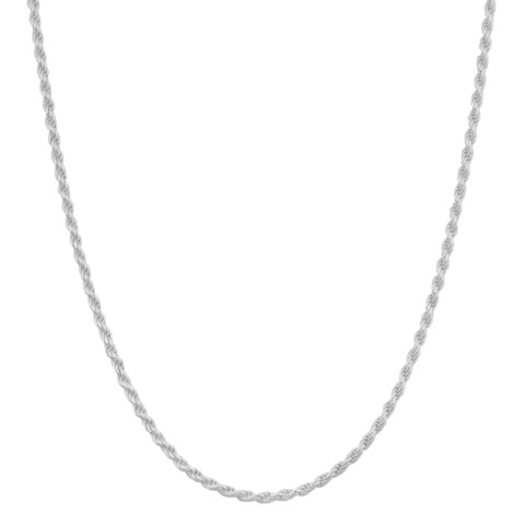Fremada Sterling Silver 1.2-mm Diamond-Cut Italian Rope Chain Necklace (18 - 36 inches)