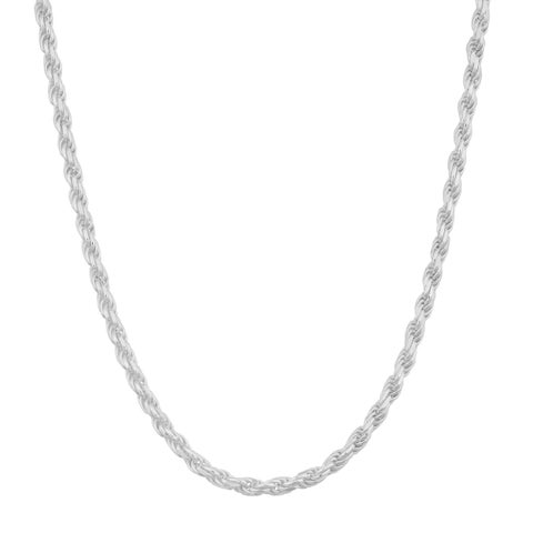 Fremada Sterling Silver 1.9mm Diamond-cut Italian Rope Chain Necklace (18-30 inches)