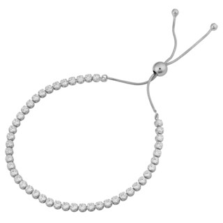 Fremada Rhodium-plated Sterling Silver Cubic Zirconia Adjustable Tennis Bracelet