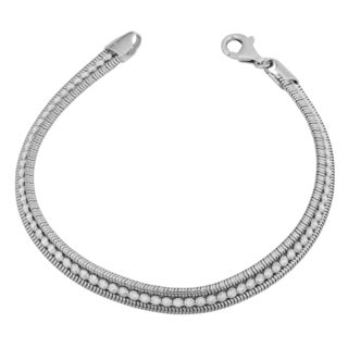 Fremada Rhodium Plated Sterling Silver and Cubic Zirconia Tennis Bracelet (7.5 inches)