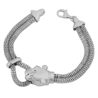 Argento Italia Rhodium Plated Sterling Silver Panther Head Mesh Bracelet (7.5 inches)