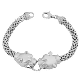 Argento Italia Rhodium Plated Sterling Silver Double Panther Head Mesh Bracelet (7.5 inches)