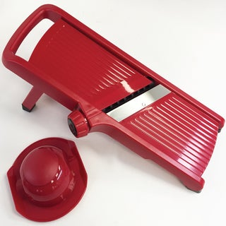 Diamond Home Mandoline Slicer with Adjustable Blade and Hand Guard, Red