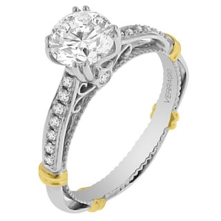 Verragio 14k Two-tone Gold Cubic Zirconia and 5/8ct TDW Diamond Semi-Mount Wedding Band (SI1-SI2, G-H)