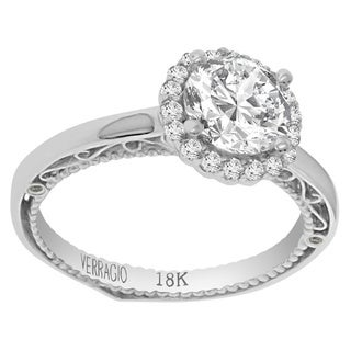 Verragio 18k White Gold Cubic Zirconia Center and 1/4ct TDW Diamond Semi-Mount Ring (F-G, VS1-VS2)