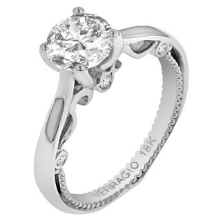 Verragio 18k White Gold Cubic Zirconia 1/10ct TDW Diamond Solitaire Semi-Mount Ring (F-G, VS1-VS2)
