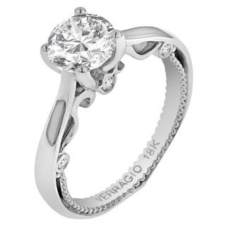 Verragio 18k White Gold Cubic Zirconia 1/10ct TDW Diamond Solitaire Semi-Mount Ring (F-G, VS1-VS2)