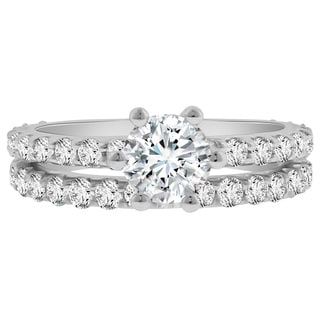 Verragio 18k White Gold Cubic Zirconia and 1 1/2ct TDW Side Stone Semi-Mount and Wedding Band (F-G, VS1-VS2)