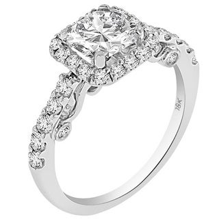 Verragio 18k White Gold with Cubic Zirconia Center and 7/8ct TDW Diamond Halo Semi-Mount Ring (F-G, VS1-VS2)