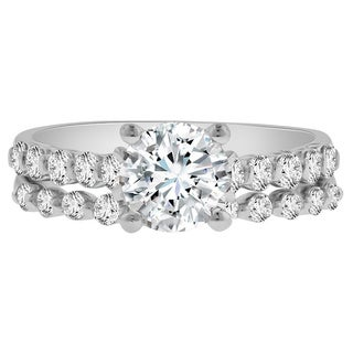 Verragio 18k White Gold Cubic Zirconia 3/4ct TDW Diamond Semi-Mount Ring and Wedding Band (F-G, VS1-VS2)