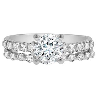 Verragio 18k White Gold Cubic Zirconia 3/4ct TDW Diamond Semi-Mount Ring and Wedding Band