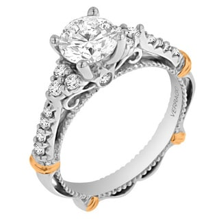 Verragio 14k Two-tone Gold Cubic Zirconia and 1/3ct TDW Diamond Semi Mount Ring (G-H, SI1-SI2)