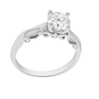 Verragio 18k White Gold Cubic Zirconia and Diamond Accent Solitaire Semi Mount Ring (F-G, VS1-VS2)