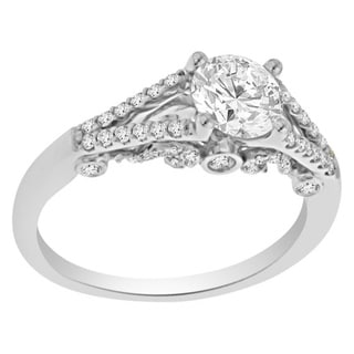 Verragio 18k White Gold Cubic Zirconia and 1/3ct TDW Diamond Filigree Engagement Ring (F-G, VS1-VS2)
