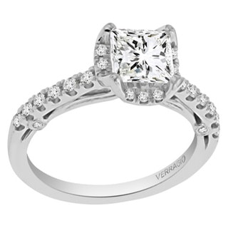 Verragio 18k White Gold Cubic Zirconia and 1/3ct TDW Diamond Halo Ring (F-G, VS1-VS2)