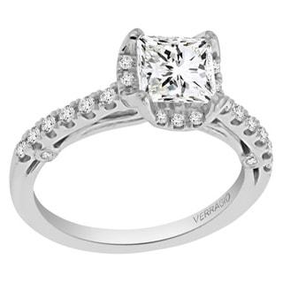 Verragio 18k White Gold Cubic Zirconia and 1/3ct TDW Diamond Halo Ring (F-G, VS1-VS2)