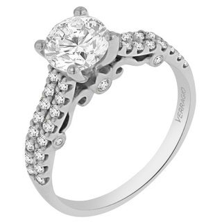 Verragio 18k White Gold Cubic Zirconia and 2/5ct TDW Diamond Engagement Ring (F-G, VS1-VS2)
