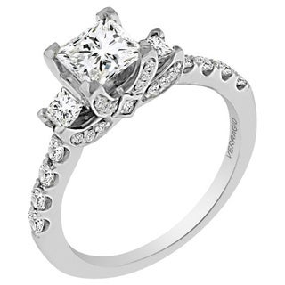 Verragio 18k White Gold Cubic Zirconia and 5/8ct TDW Diamond 3-stone Princess Semi-Mount Engagement Ring (Option: 6.75)